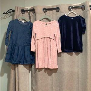 3T dresses and velvet blouse